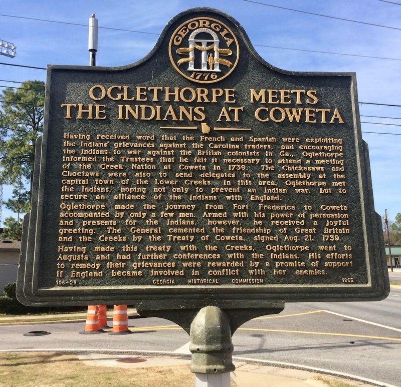 Oglethorpe Meets the Indians at Coweta Marker image. Click for full size.