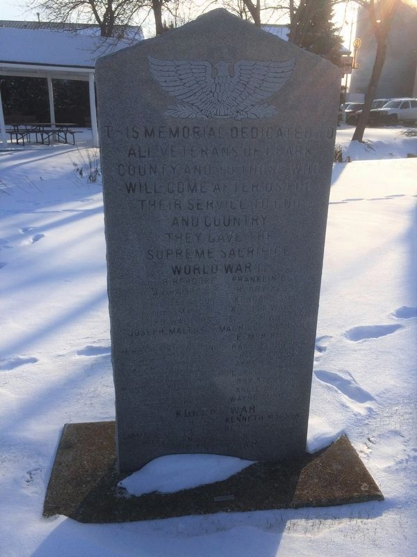 Clark County Veterans Memorial Marker (front) image. Click for full size.