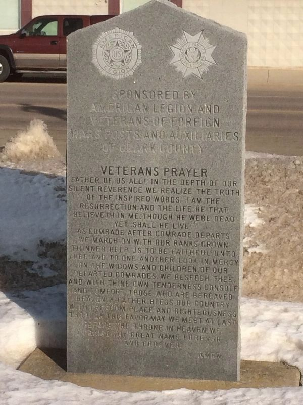 Clark County Veterans Memorial Marker (back) image. Click for full size.