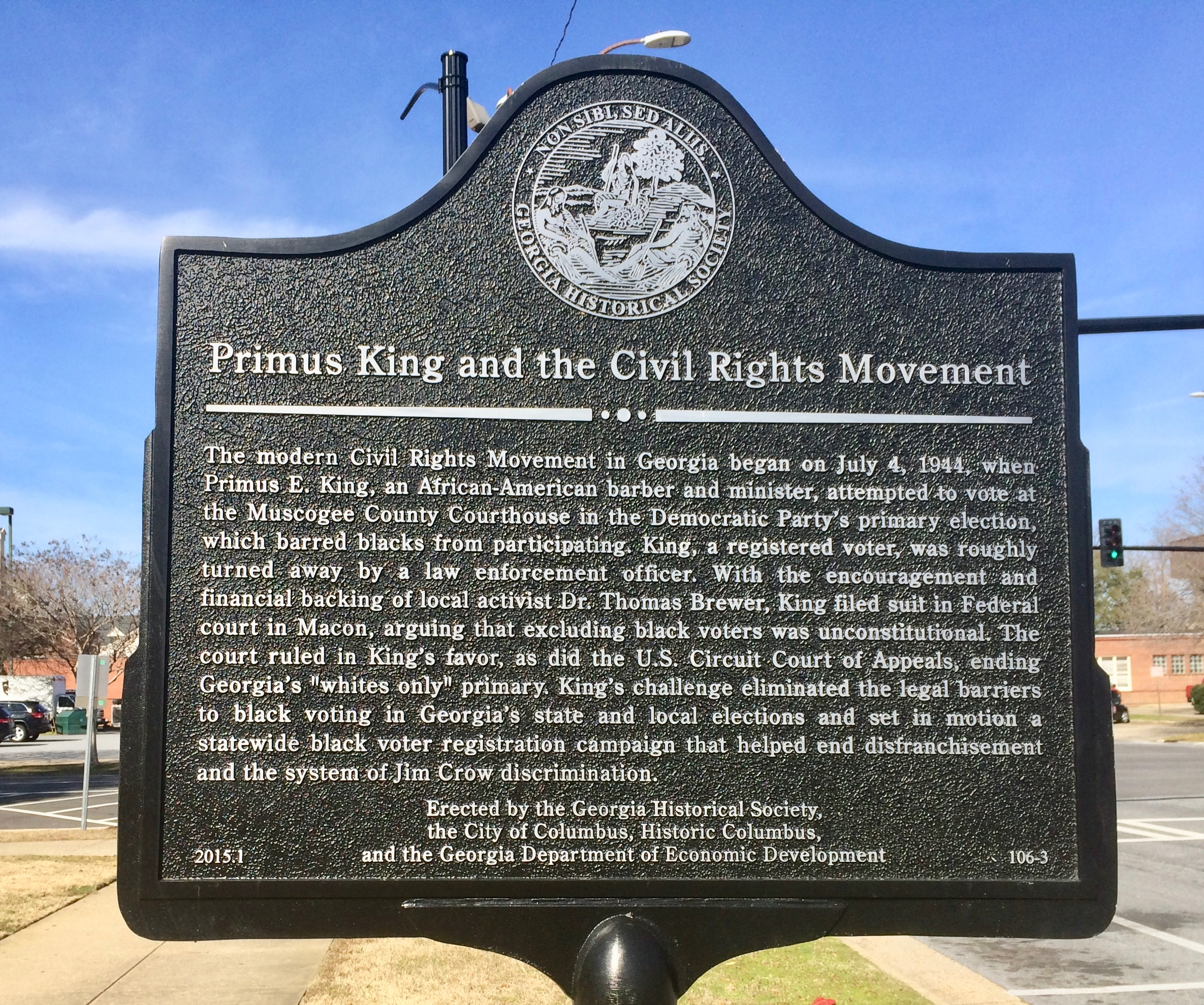 Primus King and the Civil Rights Movement Marker