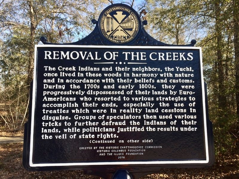 Removal of the Creeks Marker (Side 1) image. Click for full size.