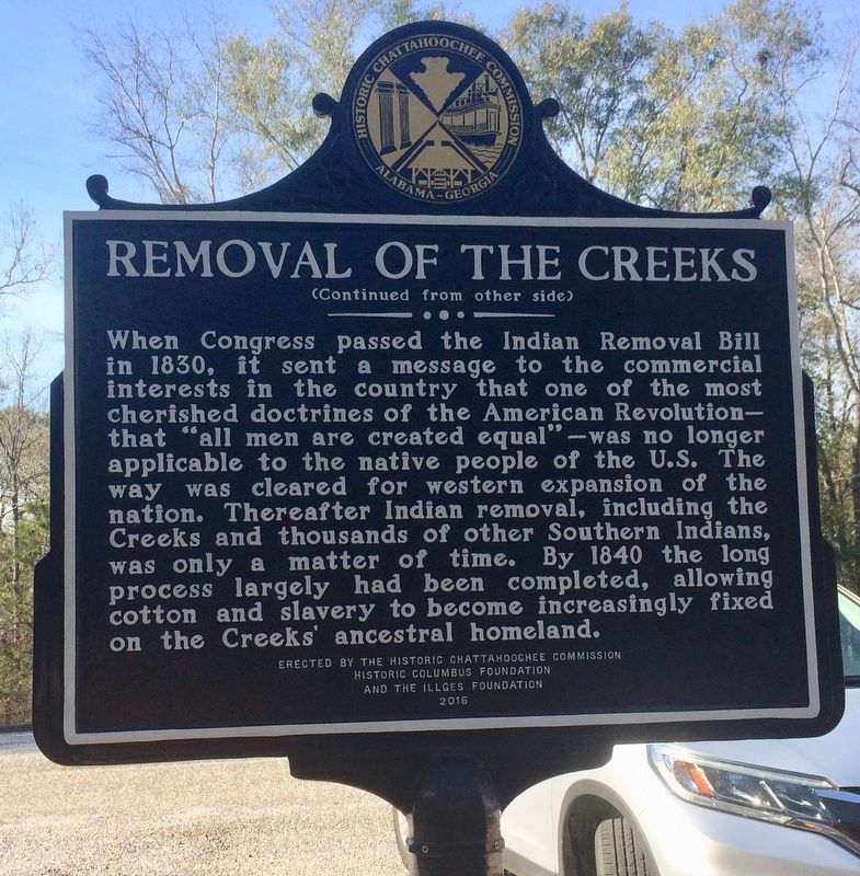 Removal of the Creeks Marker (Side 2) image. Click for full size.
