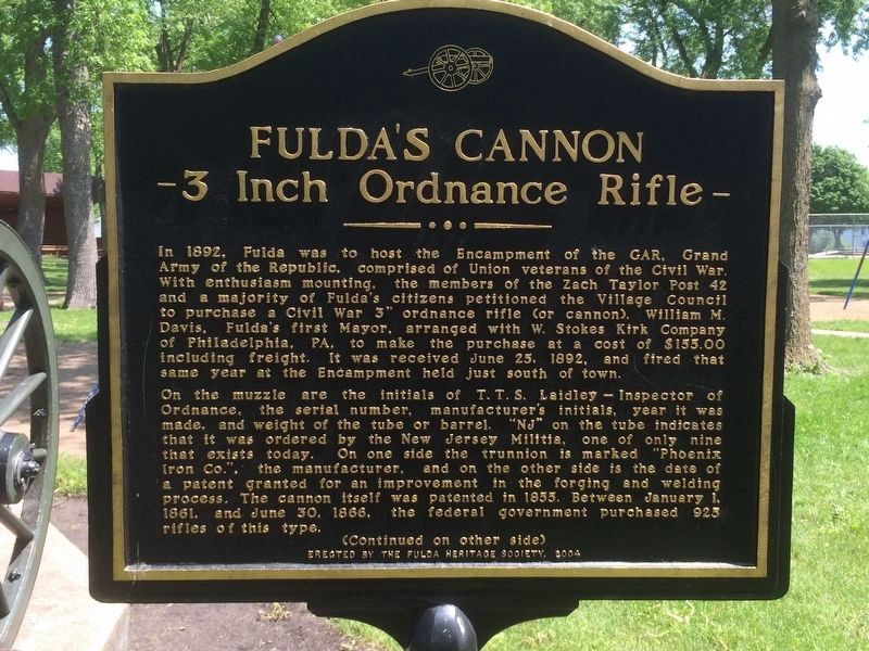 Fulda's Cannon Marker (front) image. Click for full size.