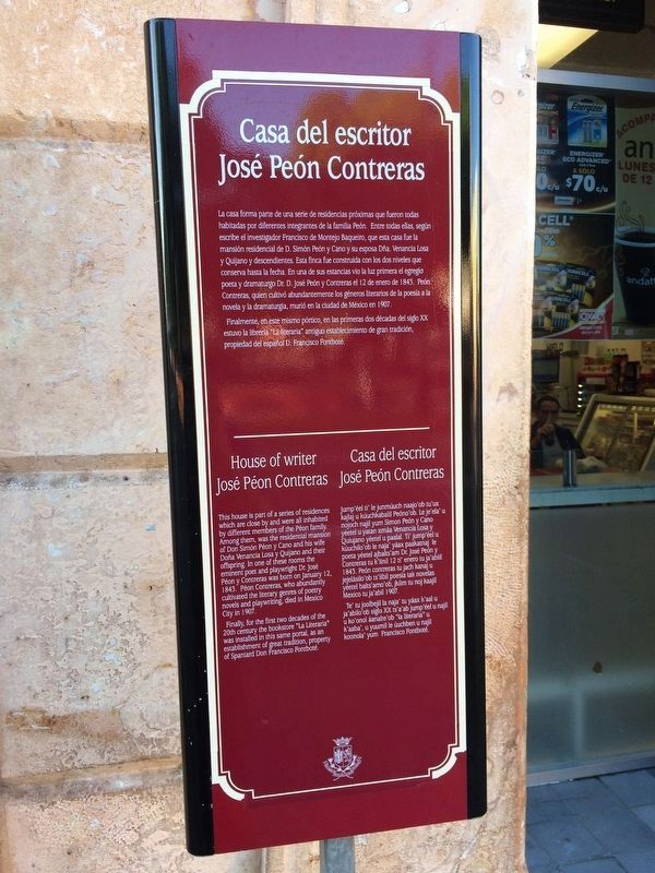 House of Writer José Peón Contreras Marker image. Click for full size.