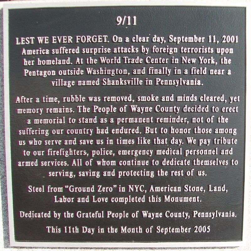 9/11 Memorial Marker image. Click for full size.