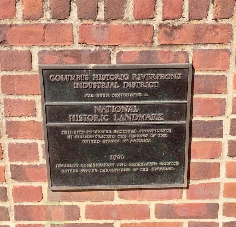 Columbus Historic Riverfront Industrial District Landmark Plaque. image. Click for full size.