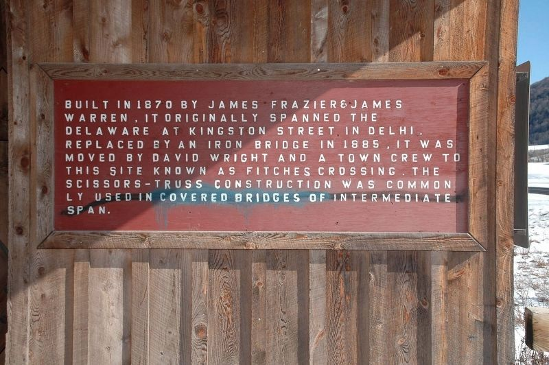 Sign Mounted Just Inside the Southern Portal of Fitch's Covered Bridge image. Click for full size.