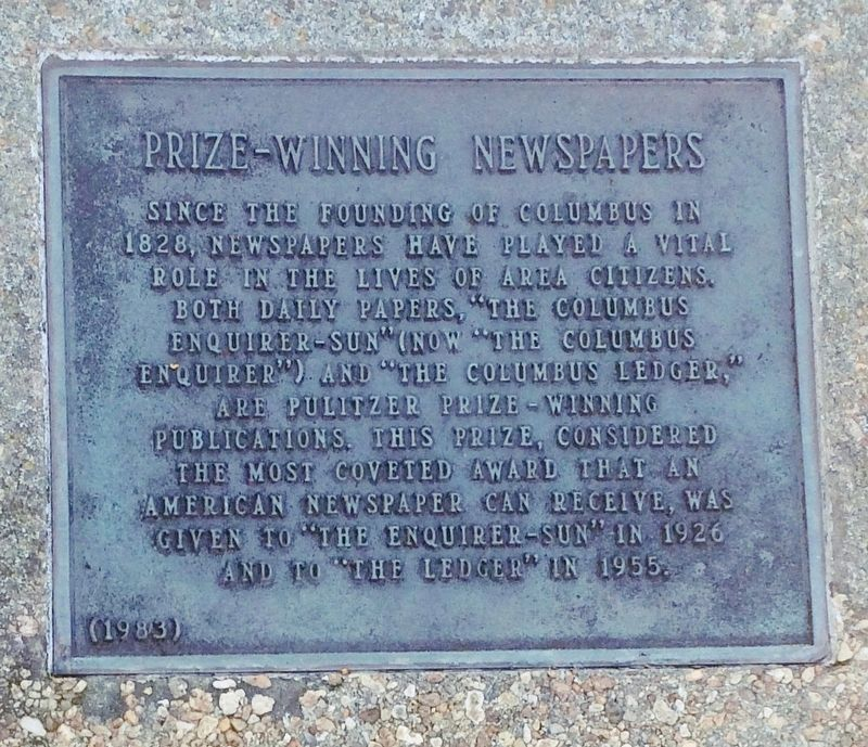 Prize-Winning Newspapers Marker image. Click for full size.