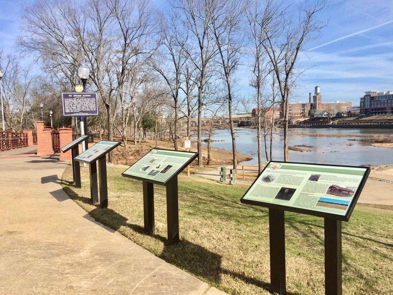 <big>The view north along the Chattahoochee Riverwalk - this marker is the farthest one.</big> image. Click for full size.