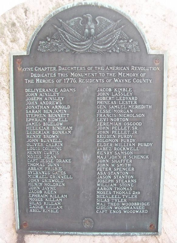 Heroes of 1776-Residents of Wayne County Marker image. Click for full size.