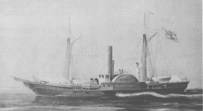 The side-wheel steamer U.S.S. Water Witch. image. Click for full size.