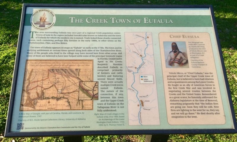 The Creek Town of Eufaula Marker image. Click for full size.