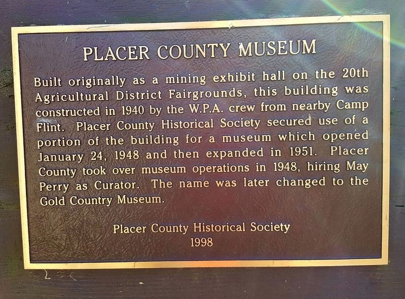Placer County Museum Marker image. Click for full size.