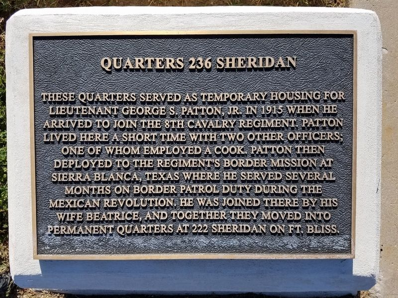 Quarters 236 Sheridan Marker image. Click for full size.