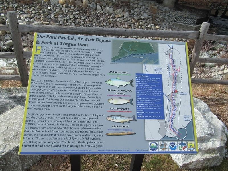 The Paul Pawlak, Sr. Fish Bypass & Park at Tingue Dam Marker image. Click for full size.