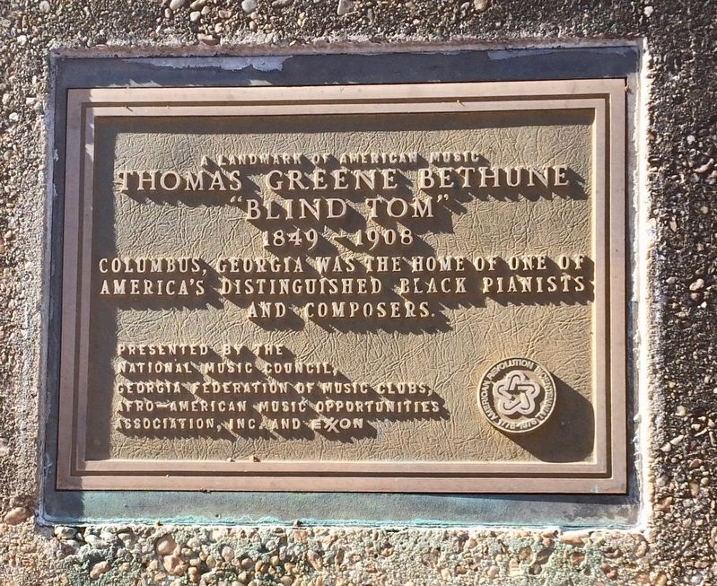 Thomas Greene Bethune plaque image. Click for full size.