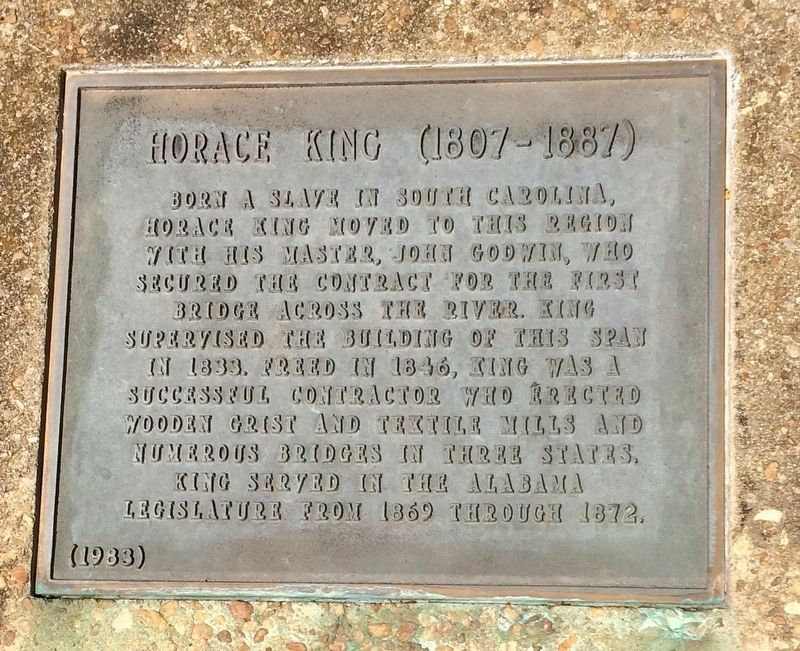 Horace King (1807 - 1887) plaque. image. Click for full size.