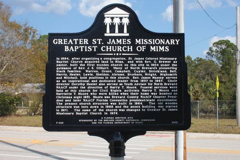 Greater St. James Missionary Baptist Church of Mims Marker image. Click for full size.