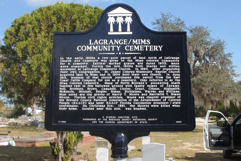 LaGrange/Mims Community Cemetery Marker image. Click for full size.