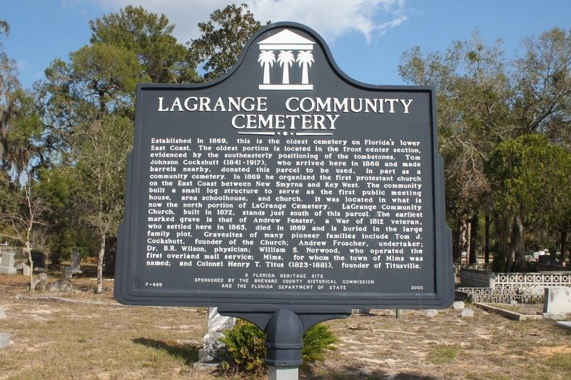 LaGrange Community Cemetery Marker image. Click for full size.