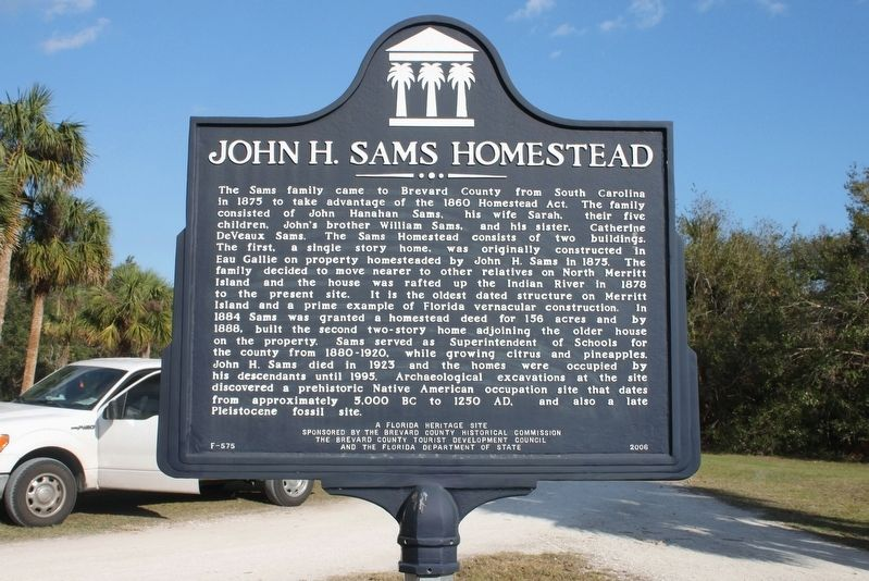 John H. Sams Homestead Marker image. Click for full size.