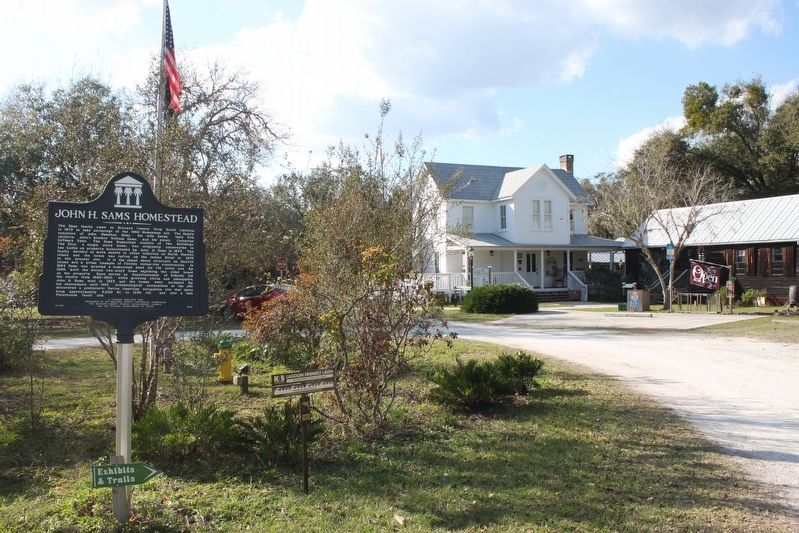 John H. Sams Homestead Marker and house image. Click for full size.