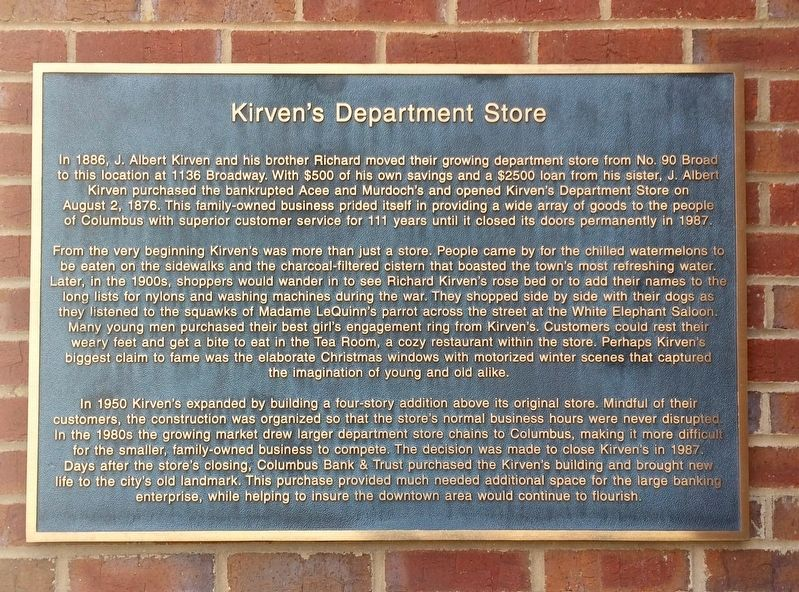 Kirven's Department Store Marker image. Click for full size.