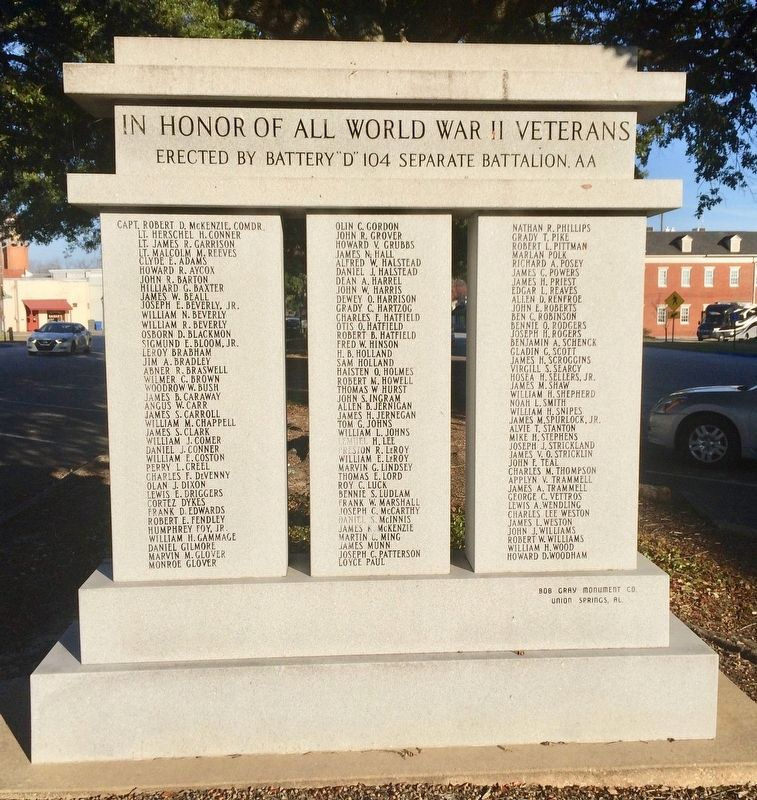 In Honor of All World War II Veterans Monument (rear) image. Click for full size.