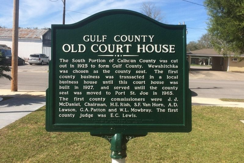 Gulf County Old Courthouse Marker image. Click for full size.