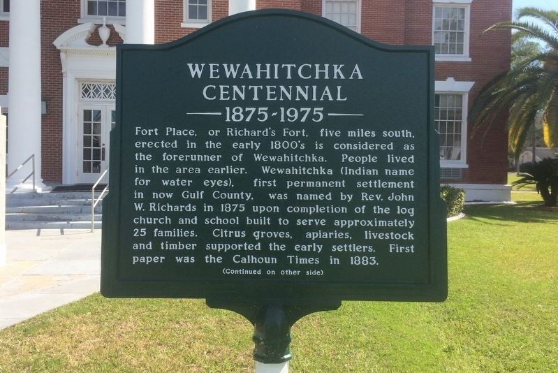 Wewahitchka Centennial Marker Side 1 image. Click for full size.