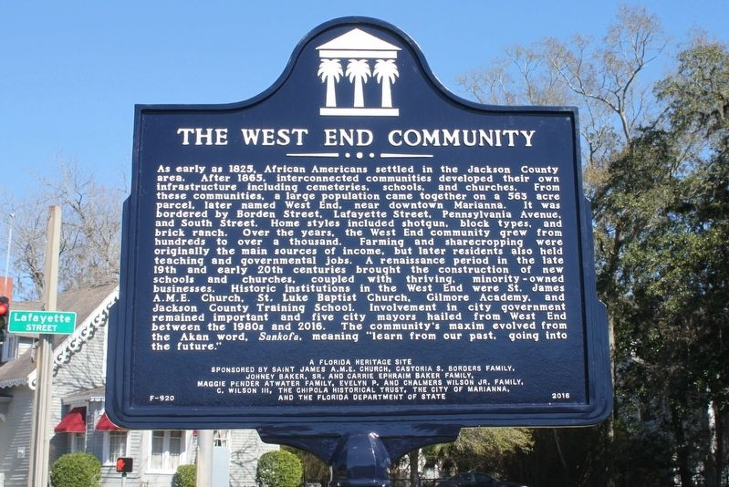 The West End Community Marker image. Click for full size.