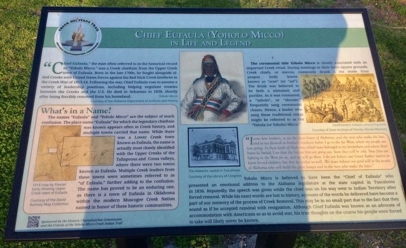 Chief Eufaula (Yoholo Micco) Marker image. Click for full size.