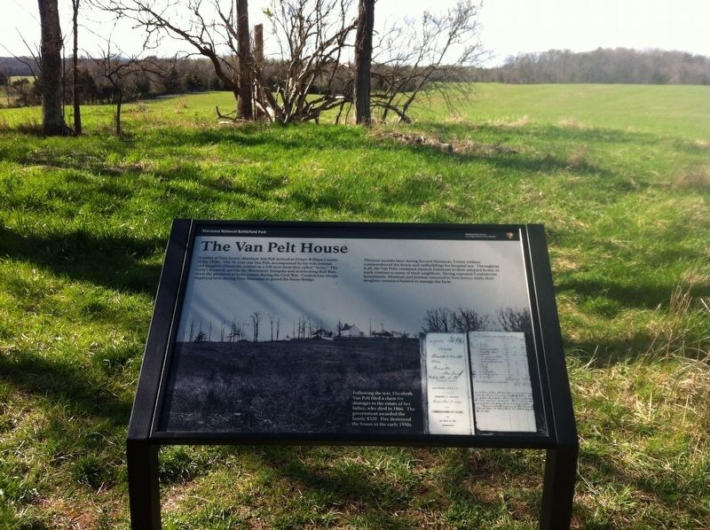 The Van Pelt House Marker and Foundation image. Click for full size.