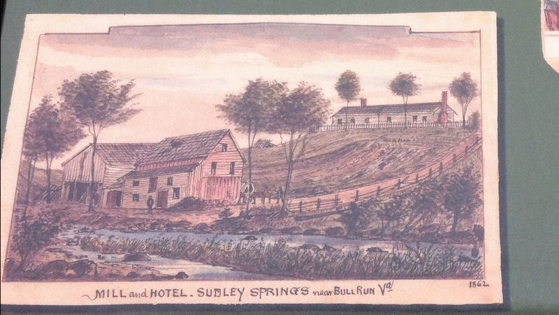 Mill and Hotel. Sudley Springs near Bull Run Va 1862 image. Click for full size.