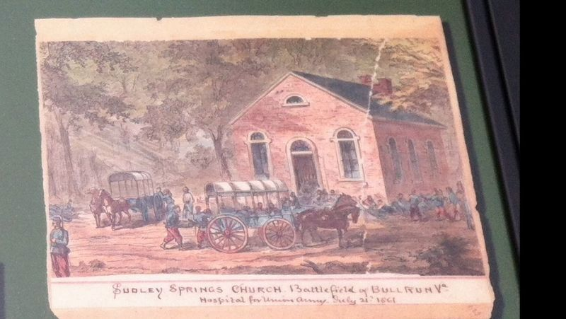 Sudley Springs Church. Battlefield of Bull Run Va.<br>Hospital for Union Army. July 21st, 1861. image. Click for full size.