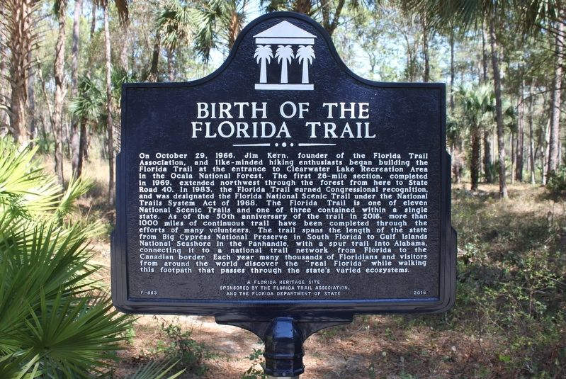 Birth of the Florida Trail Marker image. Click for full size.