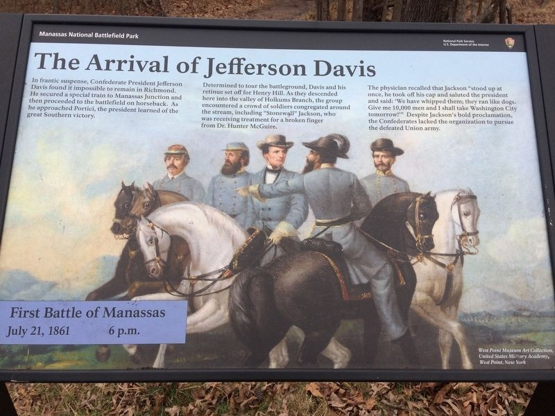 The Arrival of Jefferson Davis Marker image. Click for full size.