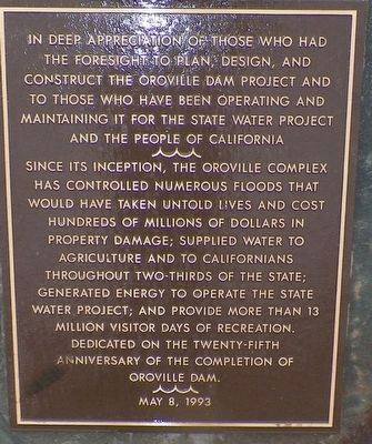Oroville Dam Marker image. Click for full size.