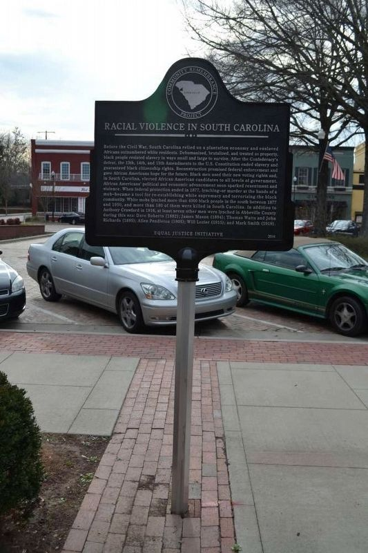 Lynching of Anthony Crawford / Racial Violence in South Carolina Marker image. Click for full size.