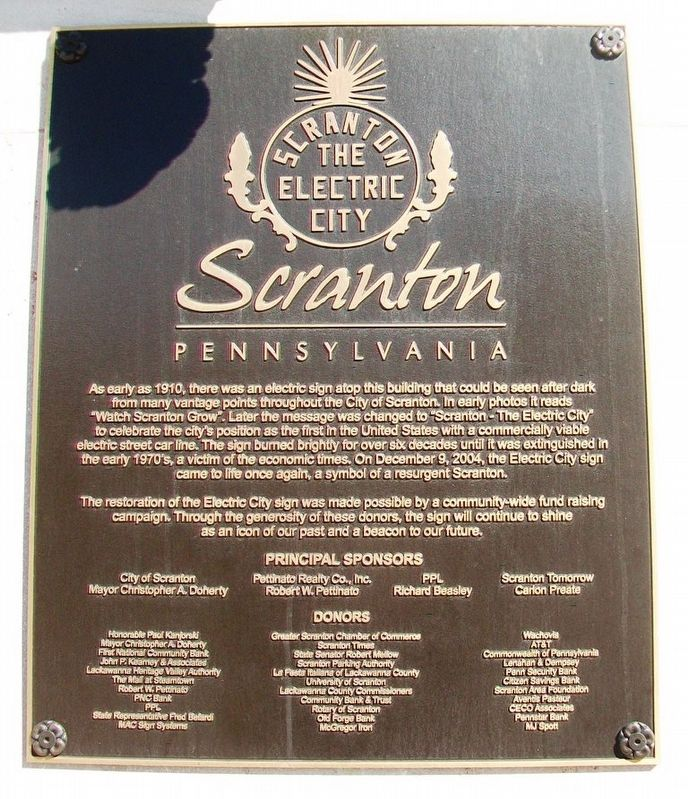 Scranton - The Electric City Marker image. Click for full size.