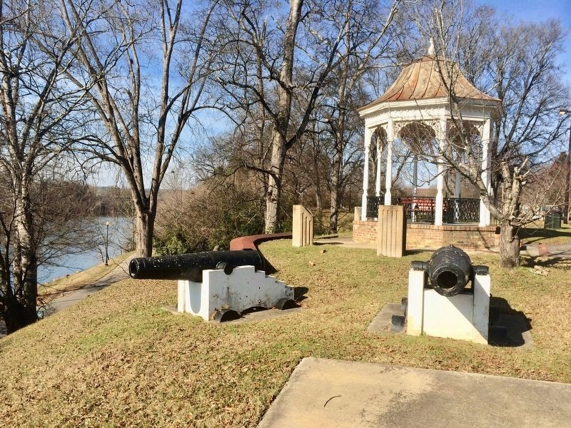 View of marker (on left) with Chattahoochee River in background. image. Click for full size.