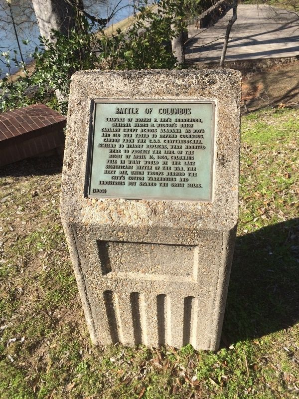Battle of Columbus Marker and stone. image. Click for full size.