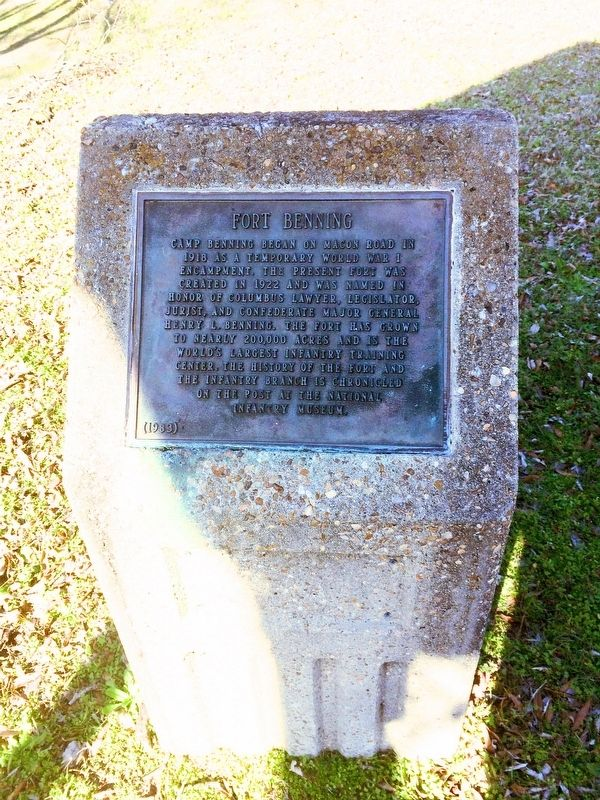 Fort Benning Marker and stone. image. Click for full size.