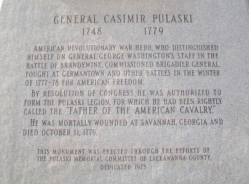 General Casimir Pulaski Marker image. Click for full size.
