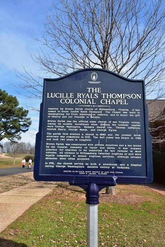 The Lucille Ryals Thompson Colonial Chapel Marker image. Click for full size.
