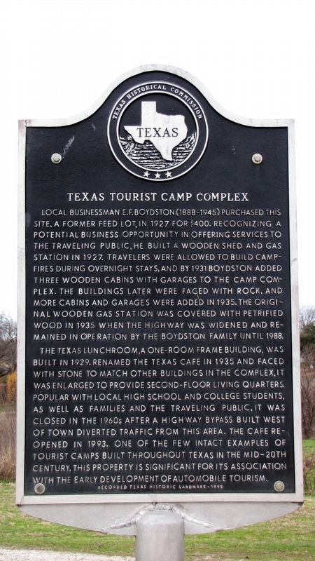Texas Tourist Camp Complex Texas Historical Marker image. Click for full size.