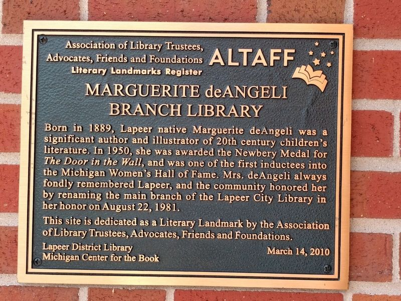 Marguerite deAngeli Branch Library Marker image. Click for full size.