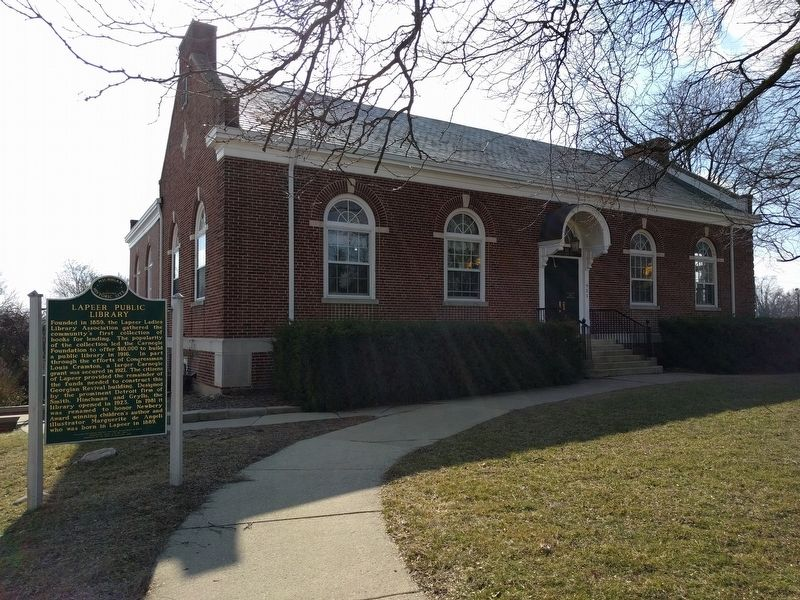 Lapeer Public Library and Marker image. Click for full size.
