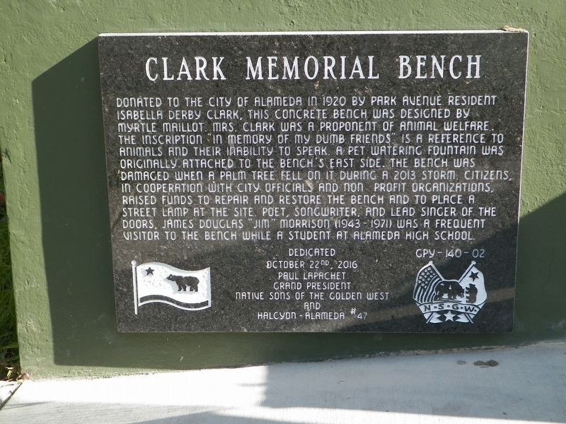 Clark Memorial Bench Marker image. Click for full size.