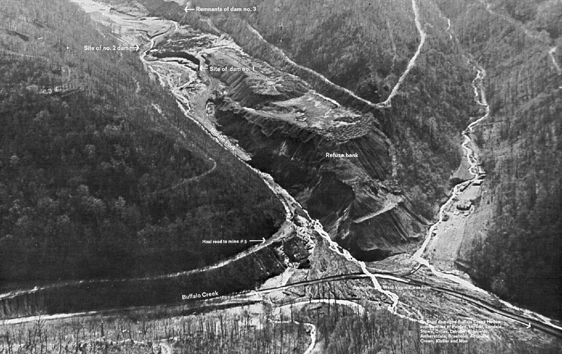 Aerial View of Buffalo Creek Area, West Virginia, taken after failure of dam #3 image. Click for full size.